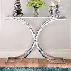 Houston Glass & Chrome Console Table