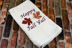 """Decorate your Kitchen in style with this Fabulously Fall Kitchen Towel. Proudly proclaim """"Happy Fall Y'all"""" with this cute embroidered towel. The towel is an Ivory cotton basket weave and measure Funny Kitchen, Kitchen Humor, Holiday Gifts, Christmas Gifts, Embroidered Towels, Decorative Towels, Happy Fall Y'all, Kitchen Towels, Basket Weaving"""