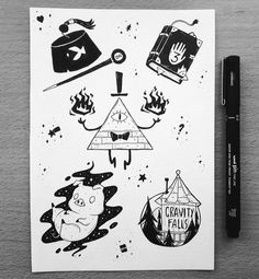 Discover recipes, home ideas, style inspiration and other ideas to try. Fall Drawings, Tattoo Drawings, Doodle Tattoo, Doodle Art, Herbst Tattoo, Desenhos Gravity Falls, Autumn Tattoo, Gravity Falls Art, Flash Art
