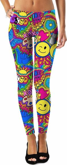 Shop these Good Vibes Hippie Collage Leggings today! bd7ee3dc09