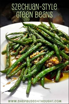 Jet Tila's Szechuan-Style Green Beans These spicy green beans will be the star of your vegetarian meal or complement your meat dish. Either way, everyone will want seconds. Chinese Green Beans, Asian Green Beans, Stir Fry Green Beans, Spicy Green Beans, Sauteed Green Beans, Thai Green Beans Recipe, Stir Fry Long Beans, Dry Fried Green Beans, Fresh Green Bean Recipes