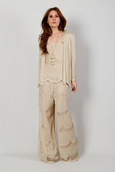 vintage CROCHET Jacket Top Pants Set S cream by TinRoofVintage