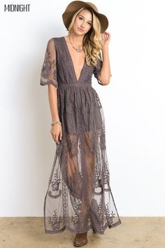- Plunging neckline - Embroidered mesh lace overlay - Side slits - Back zipper closure - Shorts lining inside - Material: Polyester - Standard American size Care instructions: Delicate cycle separate