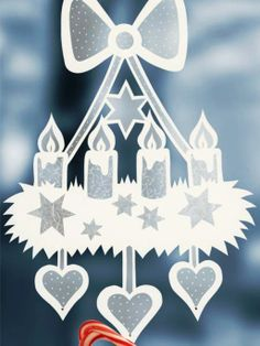 fensterdeko weihnachten Craft ideas: window pictures for Christmas Christmas Mood, Christmas Paper, Simple Christmas, Christmas Wreaths, Christmas Ornaments, Holiday, Navidad Simple, Navidad Diy, Kirigami