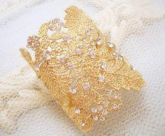 Cuff bracelet, bridal bracelet, gold bracelet, wedding jewelry, rhinestone bracelet, Swarovski crystal bracelet on Etsy, $60.00