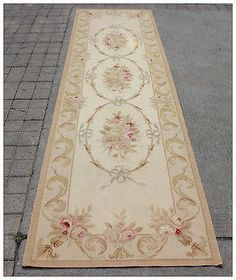 10-RUNNER-Aubusson-Rug-ANTIQUE-FRENCH-PASTEL-Wool-Handmade-French-Stair-Carpet