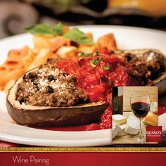 A tip from Chef Anthony: Pair Eggplant Parmesan with Merlot, Mainstreet.  Russo's Wine Pairing