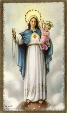 """7 Our Lady of the Rosary """"If you do not know how to pray, ask Jesus to teach you, and ask your heavenly Mother to pray with you and for you… The prayer of the Rosary can help you to learn the art of prayer with the simplicity and depth of Mary. Catholic Readings, Catholic Books, Catholic Art, Roman Catholic, Catholic Saints, Holy Mary, Religious Pictures, Religious Icons, Religious Art"""