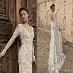 Vintage Long Sleeve Lace Wedding Dresses 2015 Plunging Neckline Open Back Sweep Train Bridal Gowns Classic Lace Wedding Dresses Exquisite Wedding Dresses From Juliabridal, $222.28  Dhgate.Com