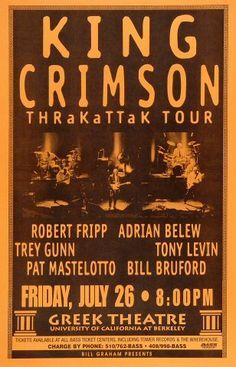 """King Crimson """"Thrakattak"""" Tour Warfield Theatre on 24 Jun 95 Vintage Concert Posters, Music Posters, Vintage Posters, Adrian Belew, Psychedelic Bands, Greg Lake, Rock Band Posters, King Crimson, Progressive Rock"""