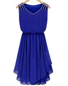 Vestido gasa plisado cristales sin manga-azul