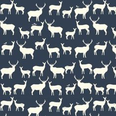 Navy Woodland Deer Fabric Organic Cotton Quilting Weight