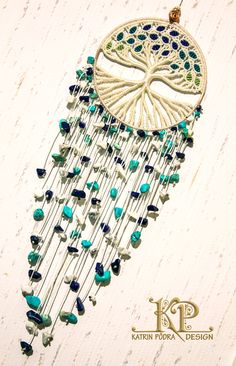 Micro macrame charm Tree of Life with natural lapis by KatrinPodra