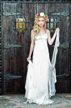 Fairy Tale Tangled Wedding Shoot lace gown