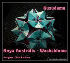 Kusudama: Hoya Australis - Wachsblume Designer: Chris Barharn Papersize: 5cm x 15cm; 1:3 Pieces: 30 Paper: Paper colored kraftpaper Ø ca 9 cm