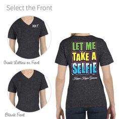 Kappa Kappa Gamma  Selfie T-Shirt With Sorority Name On The Back. Original M&D Design! #kappakappagamma #kappa http://manddsororitygifts.com/kappa-kappa-gamma-v-neck-t-shirts/