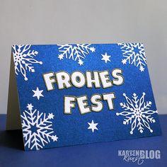 Karten-Kunst » Frohes Fest – Fröhliche Weihnachtskarte in blau-weiß-gold