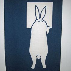 Peek a Boo White Rabbits Japanese Asian Fabric Panel Tenugui.