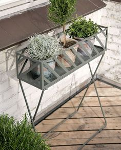 Even though the space on your balcony or terrace may be a bit cramped with a few select items you can easily create an urban garden with lots of hygge. . Plant stand. Available in two colours. Iron. Size: L60xW18xH75cm. Price per item DKK 37400 / EUR 5260 / FO-DKK 43816 / ISK 9752 / NOK 54400 / GBP 5440 / CHF 6690 / SEK 52400 . #newcollection #outdoorliving #terraceideas #balconyideas #sostrenegrene #søstrenegrene #grenehome