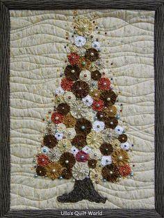 Yo-yo quilted Christmas tree
