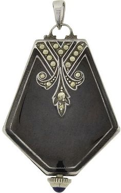 Art Deco Sterling Black Enamel & Marcasite Watch Pendant
