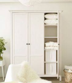 HEMNES Wardrobe with 3 doors - white stain - IKEA: Laundry room storage West Elm Bedroom, Ikea Bedroom, Home Bedroom, Master Bedroom, Armoire Ikea, Closet Hacks, Ikea Closet, Hemnes Wardrobe, Small Bedrooms