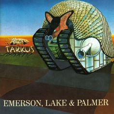 """Tarkus is the second album by British progressive rock band Emerson, Lake & Palmer, released in 1 """"Tarkus"""" -- """"Eruption"""" (Emerson) -- """"Stones of . Greatest Album Covers, Rock Album Covers, Classic Album Covers, Music Album Covers, Music Albums, Lps, Progressive Rock, Cover Art, Rock And Roll"""