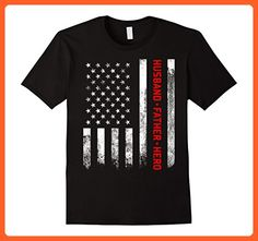 80cd9d14 Mens Men's Fathers Day American Flag Husband Father Hero T-Shirt XL Black -  Holiday