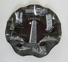 1960/1970s Vintage Glass Souvenir Bowl of Chicago Landmarks