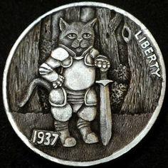 HOWARD THOMAS HOBO NICKEL - SIR PURRSALOT - 1937 BUFFALO NICKEL Hobo Nickel, Coin Art, Old Coins, Treasure Island, Bison, Coin Collecting, Art Forms, Sculpture Art, Fun Stuff