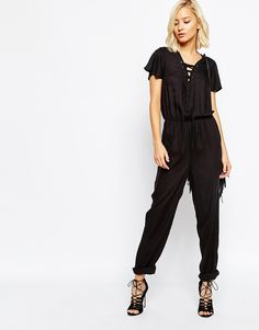 I am the biggest fan of black jumpsuit! They are comfy and on trend. Love the tie detail on this one. Find them here: http://asos.do/fy5lPr