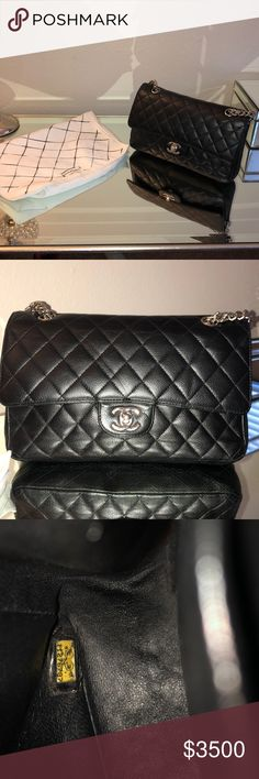 e92213135057 Authentic Caviar Chanel Bag This is medium size black caviar double flap bag  I've only used it maybe a handful of times it's in amazing condition no  tears ...