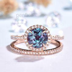 Antique Wedding Rings, Diamond Wedding Rings, Halo Diamond, Wedding Band, Dream Wedding, Alexandrite Jewelry, Alexandrite Engagement Ring, Full Eternity Ring, Eternity Bands