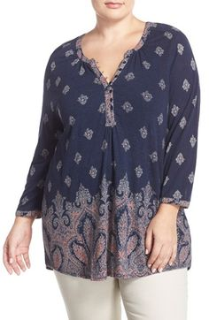 Lucky Brand Paisley Border Print Top (Plus Size) available at #Nordstrom