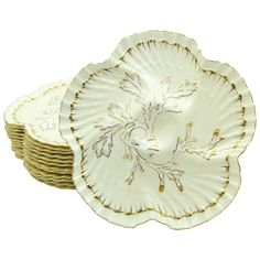 Set of 12 19th c. Brownfield's for Tiffany Ivory & Gold Coral Reef Oyster Plates | 1stdibs.com