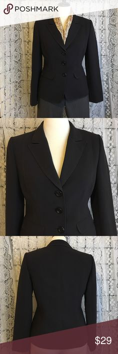 "Dark chocolate brown fitted blazer by Tahari Dark chocolate 💯 heavy polyester, fully lined (sleeves and chest in dark brown poly, back in green/brown printed cream silk). Princess seams in front are topstitched in brown as are the pockets and collar. Dry clean only. Small shoulder pads. 19.5"" armpit to armpit. 24.5"" shoulder to hem. No pulls or flaws. EUC from a smoke free home. Tahari Jackets & Coats Blazers"