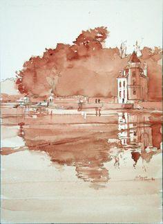 Bretagne peint avec mon propre sang sur papier aquarelle painted with my own blood on watercolor's paper 26x36 jb©