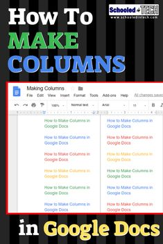 Adding columns is easy to do in Google Docs. This tutorial shows students and teachers how to insert columns using Chrome on WIndows or Chromebooks. #Gsuiteedu #Gsuite #edtech #chromebooks #googledoc