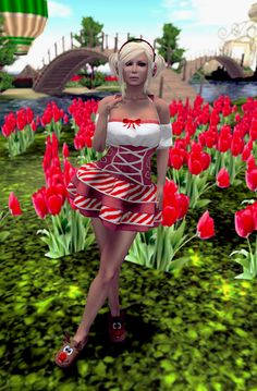 Second Life Mesh Fashion Vintage Holly Dollie Dress from irrie's Dollhouse & Peppermint Earmuffs from Lunasea Fashions.   Style Up With Sel
