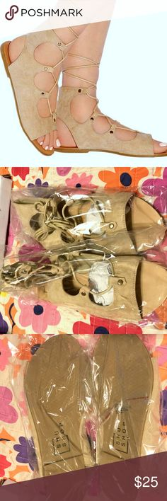 NEW SHU SHOP Natural Galaxy Lace-Up Sandal 5.5 NEW. W BOX.NEVER REMOVED FROM ITS PACKAGING and never tried on. These sandals boast a chic strappy design and versatile shade accented with little studs. Lace-up closure. Cutoffs, sundresses, this neutral hue goes with everything and the style is summer friendly. They have not been removed from their original packaging. All I could see was a faint hairline mark on the footbed that will not be seen when worn see pic.Flats. size 5.5.Please check…