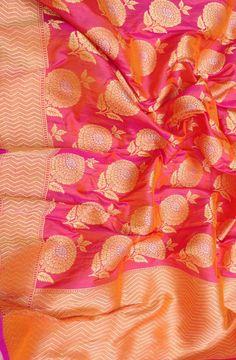 Pink Handloom Banarasi Katan Silk Dupatta