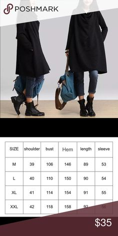 🆑🍂 High Neck Oversized Pullover  - Black🍂 🍁Just in time for fall and winter season!🍂 Keep warm in this stylish oversized pull over dress. 🌼Super comfortable + Soft! 🌺Perfect to pair with your fave jeans, pants, skirt, leggings, or -- even wear it bare. Material: Cotton + Polyester. ❗️Please refer to chart for approx sizes. 🚫trades 🚫ABSOLUTELY NO OFFERS WILL BE ACCEPTED ✔️Bundle for discount. ‼ Vintage Jackets & Coats Capes