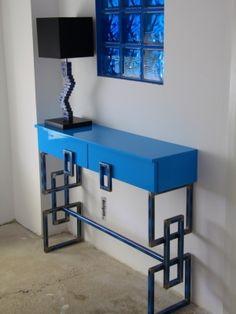 Konsola błękit industrialna loft