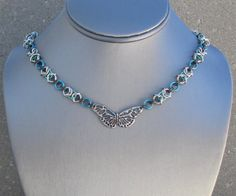 Chain Choker Chainmaille Necklace Butterfly by BlackCatLinks, $40.00