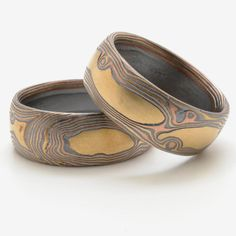 Matched Rustic Knotty Wood Grain Mokume Bands in by ArnKrebsArts