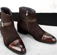 Pure Handmade High Ankle Brown Jodhpurs Rounded Buckle Strap Genuine Leather Cap Toe Brogue Boots For Men's Leather Cap, Leather Boots, Real Leather, Soft Leather, Ankle Boots, Shoe Boots, Man Boots, Cowboy Shoes, Custom Design Shoes