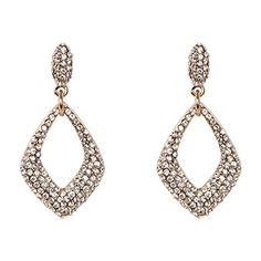 Happy Source Jewelry Personalized Wedding Silvertone Luxury Crystal Bridal Loop Dangle Earrings Clear ** You can get more details by clicking on the image. Note:It is Affiliate Link to Amazon.
