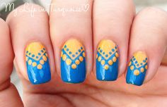 My Life in Turquoise: Dotted Chevron Nail Art with China Glaze
