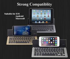 NBC F18 Portable Collapsible Foldable Metal Wireless Bluetooth Keyboard for Android Windows IOS Mac Sale - Banggood.com