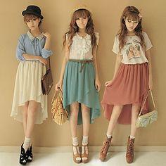 b783e7fd73ef Chiffon Asymmetrical Pleated Skirt Chiffon Skirt